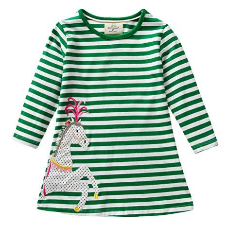 JERFER Baby Kleinkind-Mädchen Langarm Herbst Karikatur Prinzessin T-Shirt Kleid 2-6T (E, 4T) (Meerjungfrau Kleinkind Kostüm Muster)