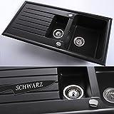 Spüle Küchenspüle Einbauspüle + Drehexcenter | 60er | 98 x 49 cm | Farbe: Schwarz
