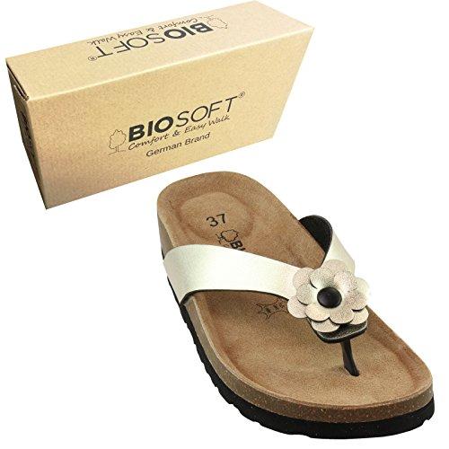 BIOSOFT Damen Flip-Flop Sandale MIA (F140) Frauen Freizeit Schuh | Zehentrenner | Sandalette mit Blume | Floral | Flower | Blüte - Gold Metallic - Gr. - Schuhe Vintage Frauen Nike