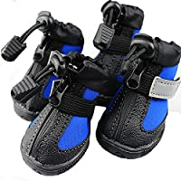 Ecloud Shop® Botas de perro Suela de goma antideslizante, zapatos para perros Resistente al agua y velcro reflectante (azul-L)