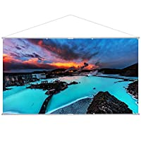 Houzetek Projector Screen 120'' Inch 16:9 HD Projection Screen 1.2 Gain portable Home Cinema Screen for Indoor Outdoor Movie
