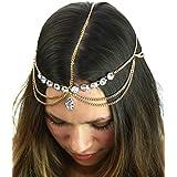 Pear Cut Rhinestone Charm Draping Head Chain Jewelry In Gold Tone