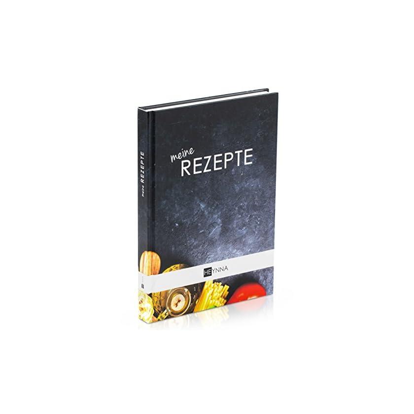 HEYNNA ® Kochbuch zum Selbst Schreiben - Hardcover Rezeptbuch/Deine Lieblingsrezepte auf A5 mit Register 1