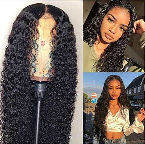 AJIAFA Frau Perücken Synthesis Lange Haare Locken-Perücke Perucken Brazilian Hair Parücken Schwarz 60cm