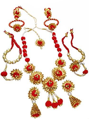 BLENT#63 Pink Ghungroo Gota Patti Flower Jewellery Set for Women/Kids/Girls/Bride/Bridal/Wedding/Haldi/Mehandi (Handmade Light...