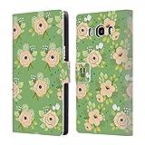 Head Case Designs Grün Geblümt Wunderbare Blumen Brieftasche Handyhülle aus Leder für Samsung Galaxy J5 (2016)