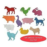 Kids B Crafty 110 Self Adhesive Foam Shapes Stickers FARM ANIMALS Easy Peel