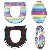 Fdit 2/Set Warm Soft Coral Samt WC-Sitz Deckel Cover Set Rainbow Farbe Badezimmer Dekoration blau