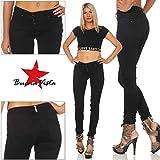 Buena Vista Damen Jeanshose Malibu Stretch Twill Jeans m. dekorativer Knopfleiste Black L