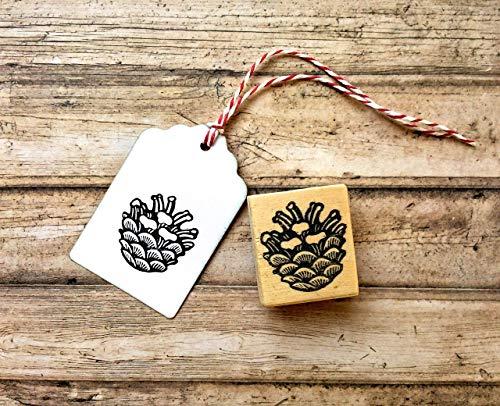 Zapfen Stempel, Motivstempel Kiefernzapfen, handgeschnitzt, auf Holz montiert, Weihnachts-Stempel, Weihnachts-Deko, Basteln, Natur Motiv Schulstempel, Kinderstempel, DIY, Geschenk