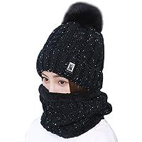 Sombrero y Bufanda Mujer Invierno,TININNA Caliente Gorras Con Scarf de lana de Punto de Esquiar para Chicas-Negro