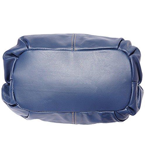 Borsa a mano in pelle 8655 Blu scuro-cuoio