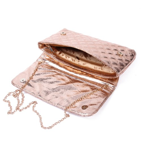 Damara Borsa da donna elegante catena rivetti Lattice Clutch Gold
