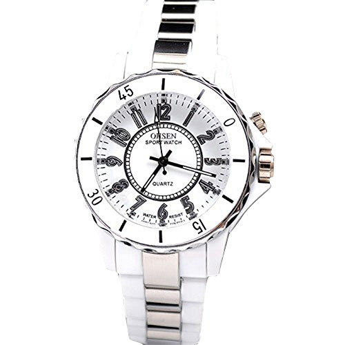 Blitzleuchten Weiße Und Blaue (YPS weiß Stahl LED-Licht Männer Jungen-Quarz-Sport-Band-Armbanduhr (weiß) WTH8046)