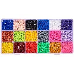pandahall - Lot de 3500pcs / Boite Environ 18 Couleur Aleatoire PE Melty Perle a Repasser Perles Fusibles Bricolage Recharges, Tube, Couleurs Melangees, 5x5mm, Trou: 3mm