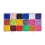 Pandahall–Set di 5000pcs/Scatola 10Colore pe Melty perla ha stiro perline fusibili bricolage Ricariche, Tubo, colori melangees, 3~ 3.3x 2.5~ 2.6mm, Plastica, multicolor 4, 5x5mm