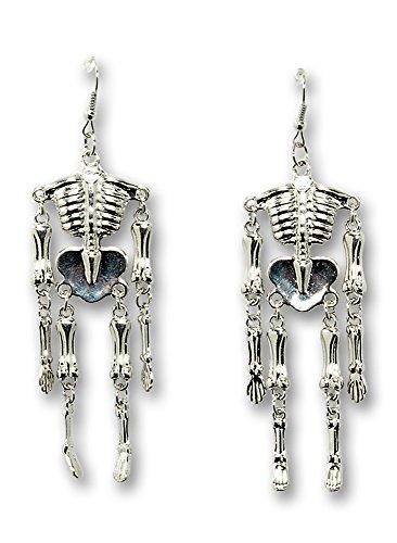Halloween Kostüme Ohrringe (Skelett Ohrringe - Halloween Schmuck zum Geister, Hexen oder Vampir)