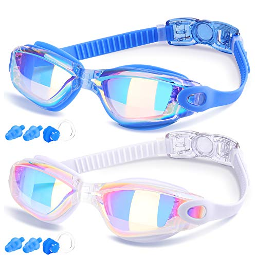 Occhialini Da Nuoto, Prodotto da COOLOO, Anti-nebbia Protezione UV Cinghia Regolabile, per Adulti Bambini Unisex, Confezione da 2, Blu e Bianco
