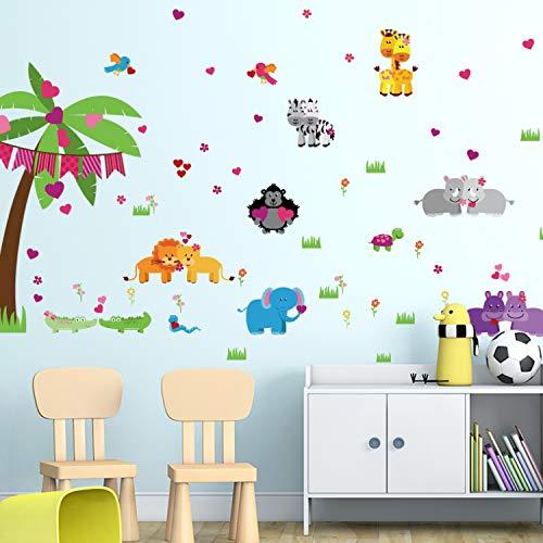 KHFVCSOMB Cartoon Tier Kindergarten Wohnzimmer Kinder Kinder Schlafzimmer Abnehmbare Selbstklebende Möbel Wandaufkleber Abziehbilder Dekor Wandbild - Metall-esszimmer-möbel Aus Stein