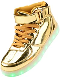 Gloria JR Frauen Mens High Top USB Aufladung LED Schuhe Blinkender Sneaker
