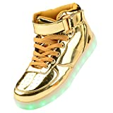 Gloria JR Frauen Mens High Top USB Aufladung LED Schuhe Blinkender Sneaker (EUR45, Gold)