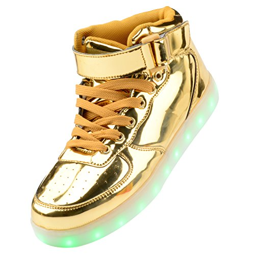 Gloria JR Frauen Mens High Top USB Aufladung LED Schuhe Blinkender Sneaker (EUR43, Gold)
