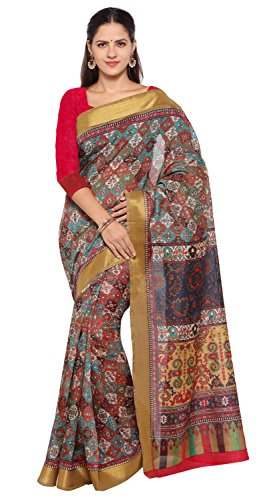 Rajnandini Women's Multicolor Tussar Silk Patola Printed Saree