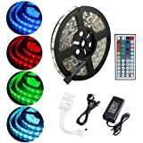 ALED LIGHT®Waterproof 5M RGB 5050 300 Led Strips Lighting Full Kit With 44Key IR Remote +5A AC UK Power Supply For Home lighting and Kitchen