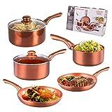 5 Piece Copper Pan Set Non Stick Aluminium Hob Ceramic Stainless Steel