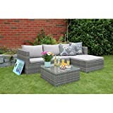 Gartenlounge Geflecht Loungemöbel Sitzgruppe mit Sitzpolster steingrau