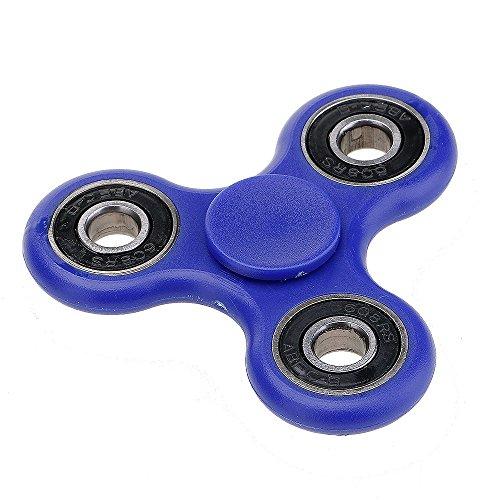 Waitiee Fidget hand Spinner Anti-stress per bambini e adulti - Cuscinetto in acciaio ad alta velocità - Rotazione da 1-3 minuto - Giocattolo sensoriale Tri-Spinner Fidget Toy (Blue)