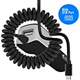 Schwarz USB C TYPE C RAPID SCHNELLE CHARGE 2000 mAh Tangle Proof In Car Charger Für Sony Xperia XZ1 Compact 2017
