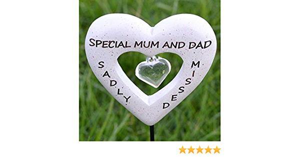Special Mum and Dad David Fischhoff Graveside Memorial Heart Stick Sadly Missed