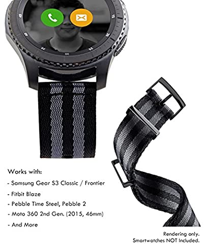 Truffol 22mm 2-Piece NATO Strap for Samsung Gear S3 Frontier & Classic, Fitbit Blaze, Huawei Watch 2 Classic - Quick Release Nylon Watch Band with PVD Steel Metal Buckle Loop (Black & Titanium Grey)