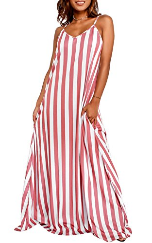 LANOMI Womens V-Neck Striped Dresses Long Strappy Party Evening Beach Long Maxi Dress Cocktail Beachwear Size 6 8 10 12 14 16 (Label L/UK 12, Red)