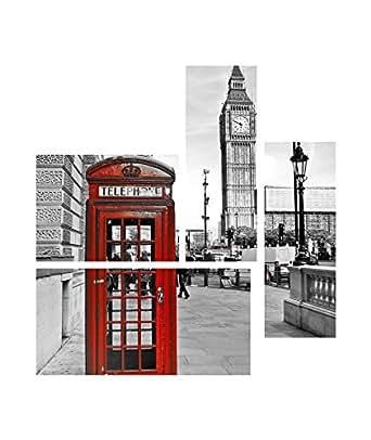 Tableau Multi Panneaux London sur toile 140x70 cm gris et blanc