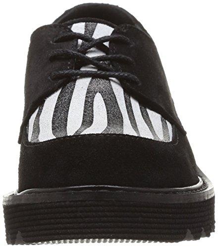 Yep Alette, Chaussures de ville fille Noir (Croute Noir/Zebre)