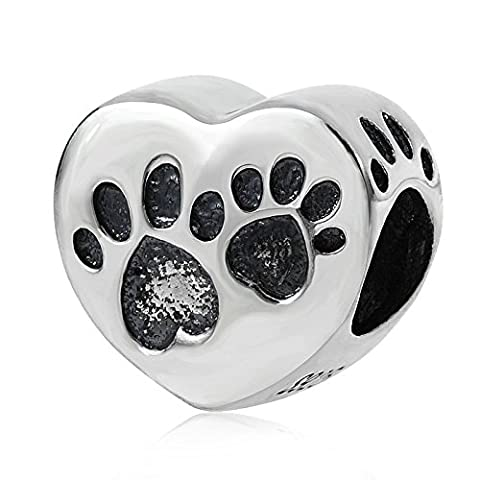 Soulbead Animal Pet Pawprint Heart Charm Genuine 925 Sterling Silver Paw Print Bead for European Style Bracelet Jewelry by Soulbead
