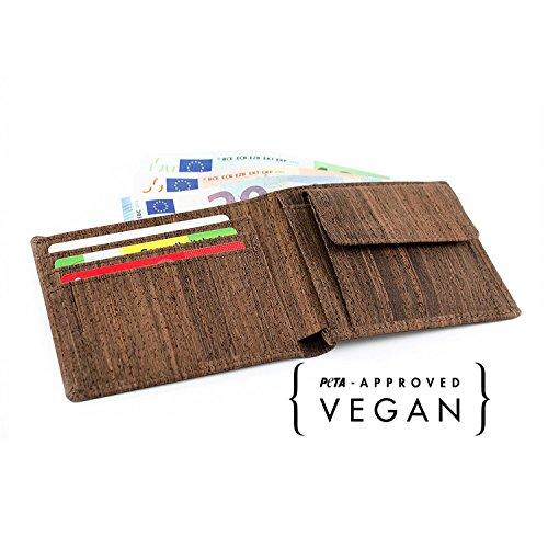 ACHERLA | Leichtes Bifold Herren Portemonnaie vegan aus Kork (dunkel) mit Geschenkbox wasserabweisendes, robustes, handmade Portemonee (dunkel) - 4
