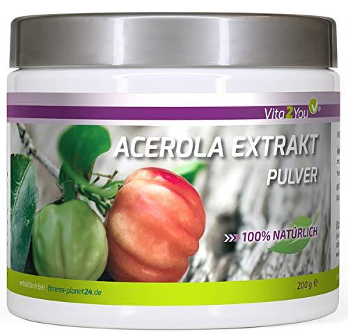 Vitamin C Acerola Pulver Extrakt - 200g - Natürliches Vitamin C - Hochdosiert mit 17{2f49771aedfba9ac0acf4e1ba0f5d9fed61b4348268e01dfa23bec521d3d9820} Vitamin C - Premium Qualität