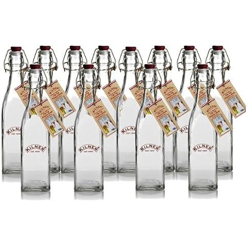 Dove Mill Kitchen - Set da 12 bottiglie a base quadrata da 0.55 L, in vetro, stile vintage, con tradizionale tappo meccanico a clip