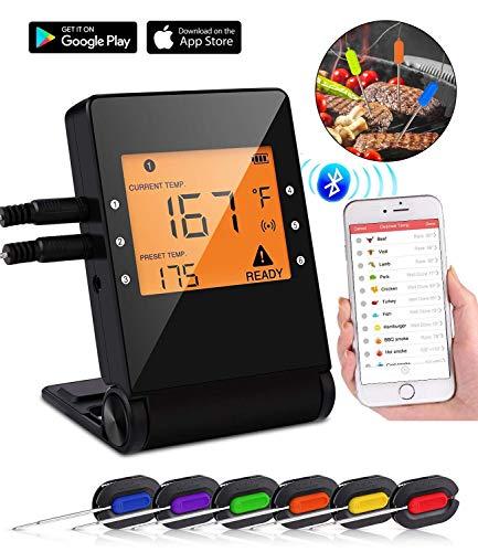 Termometro Cucina Bluetooth per Carne con Sonda, APP Controllo,l'Allarme Timer,Schermo LCD per BBQ Griglia.6 pack