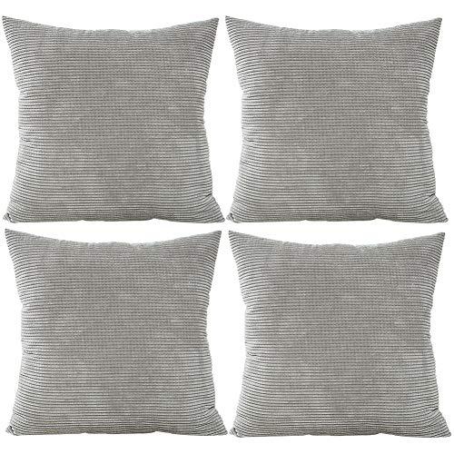 JOTOM Einfarbig Cord Taille Kissenbezug,Kissenbezüge Corn Kernel Weiche Kissenhülle für Zuhause Dekorative Couch Sofa, 45x45 cm, Set von 4 (Grau) - Grau Cord