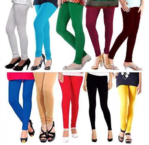M.G.R Women\'s Cotton Leggings (M.G.R Leggings Pack Of 10_Black _Free Size)