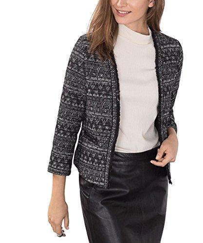 ESPRIT Collection Damen Blazer 106EO1G020, Schwarz (Black 001), 34 (Bouclé Schwarz)