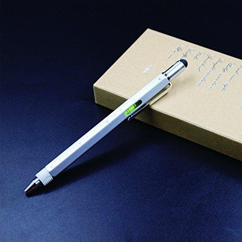 6 in 1 Schraubendreher Werkzeugstift - Mini Multifunktionsstift mit Stift, flach und Phillips Schraubendreher Bit, Bubble Level und Zoll cm Lineal alle in einem (Matt-schwarz)