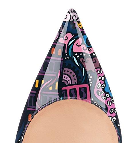 Guoar High Heels Damenchuhe Große Größe Pumps Einfach Stil Spitze Zehen Hand gemacht Stiletto Büro-Dame Party Hochzeit Graffiti
