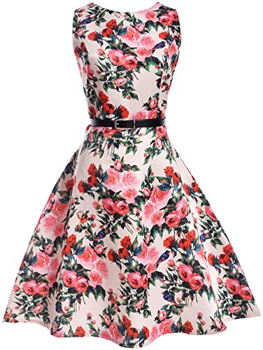 AGOGO Mädchen 1950er Vintage Retro Kleid Hepburn Stil Kleid Blumen Kleid (14-15 Jahre, Muster 3)