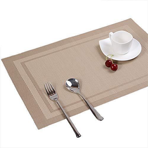 Moolila gewebte Vinyl-Tischmatten Rutschhemmende Wärmeisolierungspad Untersetzer Becherkissen Halter Schüsselunterlage Tischdekoration, PVC, Khaki, 30cm*45cm -