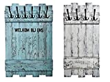Garderobe nach Wunsch (WUNSCHBREITE & WUNSCHFARBE & WUNSCHTEXT) weiß mit 4x3 Metallhaken aus Echtholz / Massivholz im used look ... rustikal Landhaus Stil SHaBBy CHic ViNTaGe Holz (alternativ: Gaderobe , Gardrobe )